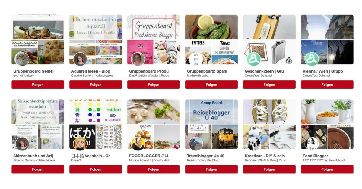 Pinterest Gruppenboards finden